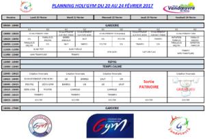 Planning Holi'Gym février 2017